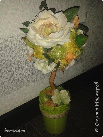 """Первый раз делала топиарий, результатом довольна) Использованы цветы: пион (МК Асатуровой), """"ленивые"""" эустомы (МК Мурзилка Моя), хлопок (МК Горячевой), морозник (внизу) делала сама по фото Оранжевые цветочки тоже без мк фото 1"""