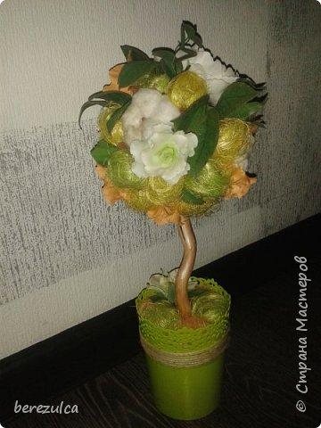 """Первый раз делала топиарий, результатом довольна) Использованы цветы: пион (МК Асатуровой), """"ленивые"""" эустомы (МК Мурзилка Моя), хлопок (МК Горячевой), морозник (внизу) делала сама по фото Оранжевые цветочки тоже без мк фото 3"""
