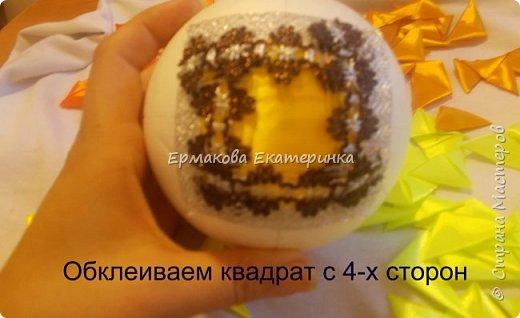 Вот такой шарик мы сегодня сделаем.Принцип изготовления такой же как и в голубом фото 13