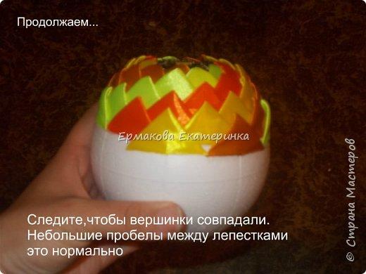 Вот такой шарик мы сегодня сделаем.Принцип изготовления такой же как и в голубом фото 17
