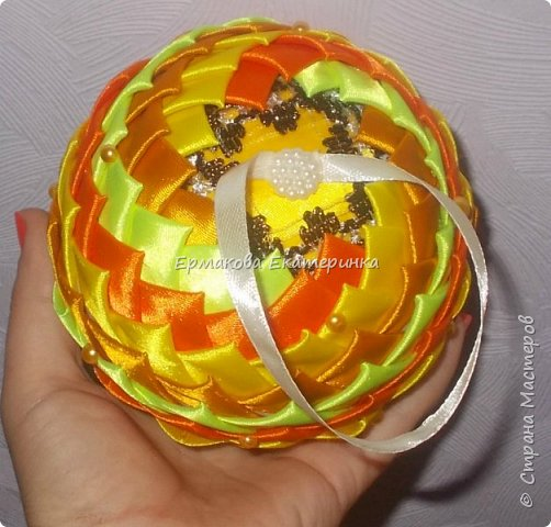 Вот такой шарик мы сегодня сделаем.Принцип изготовления такой же как и в голубом фото 2