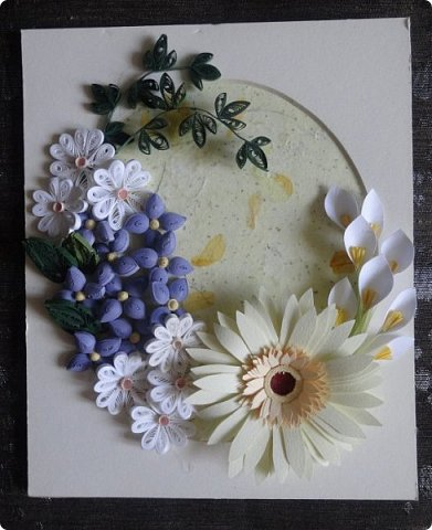 """Друзья, это опять я... На этот раз с работой над ошибками. Помнится, сделала я по весне картину с цветочками всевозможными да бабочкой жёлто-голубой. Но сколько ни смотрела на неё, сколько ни привыкала, так и не легла душа. Один сплошной хаос перед глазами! И решила я внедрить в работу """"драконовский"""" метод. То есть раздраконила её и на """"развалинах"""" создала вот это  фото 9"""