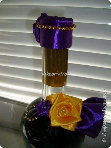 """Всем желаю доброго дня! Сегодня хочу показать декорированную бутылочку по поводу Дня рождения моей старшей кумушки. Она большая почитательница фиолетового цвета и """"напитка богов"""". Прототипом и вдохновителем стала работа Елены Чагеевой http://stranamasterov.ru/node/411951, за что ей огромная благодарность! И вот она - моя Кармен. фото 4"""