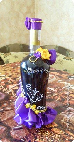 """Всем желаю доброго дня! Сегодня хочу показать декорированную бутылочку по поводу Дня рождения моей старшей кумушки. Она большая почитательница фиолетового цвета и """"напитка богов"""". Прототипом и вдохновителем стала работа Елены Чагеевой http://stranamasterov.ru/node/411951, за что ей огромная благодарность! И вот она - моя Кармен. фото 5"""