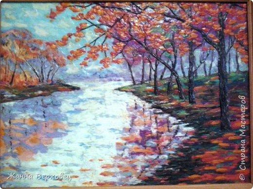 """""""Осенней порой"""". Увидела картинку в интернете и решила попробовать нарисовать её пластилином. Получилось! Захотелось продолжить. Добавила ещё две по бокам. Получился триптих. Получила огромное удовольствие от этой работы! фото 7"""