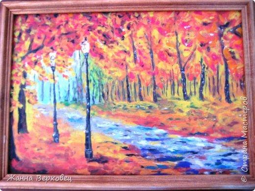 """""""Осенней порой"""". Увидела картинку в интернете и решила попробовать нарисовать её пластилином. Получилось! Захотелось продолжить. Добавила ещё две по бокам. Получился триптих. Получила огромное удовольствие от этой работы! фото 5"""