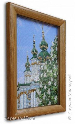 Андреевский собор в каштанах. В рамочке (дуб) со стеклом. Размер 170*240 мм фото 2