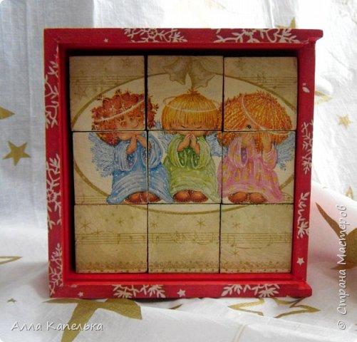 Сотворила в июне такое вот зимне-новогоднее чудо 2 в 1. Это и кубики для игры / интерьерные кубики и шкатулка для конфет.  фото 3