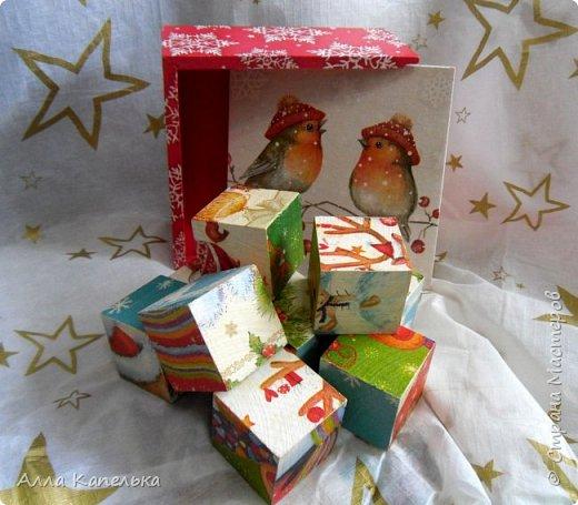 Сотворила в июне такое вот зимне-новогоднее чудо 2 в 1. Это и кубики для игры / интерьерные кубики и шкатулка для конфет.  фото 2