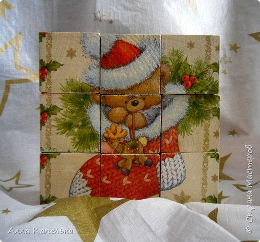 Сотворила в июне такое вот зимне-новогоднее чудо 2 в 1. Это и кубики для игры / интерьерные кубики и шкатулка для конфет.  фото 4