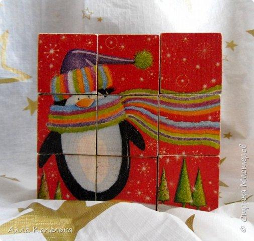 Сотворила в июне такое вот зимне-новогоднее чудо 2 в 1. Это и кубики для игры / интерьерные кубики и шкатулка для конфет.  фото 5