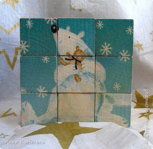 Сотворила в июне такое вот зимне-новогоднее чудо 2 в 1. Это и кубики для игры / интерьерные кубики и шкатулка для конфет.  фото 6