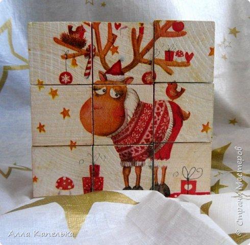Сотворила в июне такое вот зимне-новогоднее чудо 2 в 1. Это и кубики для игры / интерьерные кубики и шкатулка для конфет.  фото 7