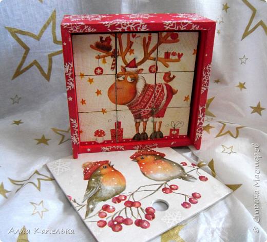Сотворила в июне такое вот зимне-новогоднее чудо 2 в 1. Это и кубики для игры / интерьерные кубики и шкатулка для конфет.  фото 10
