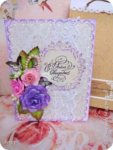 доброго дня всем! Эту открытку я делала на заказ для своей знакомой на свадьбу ее дочери.  фото 2