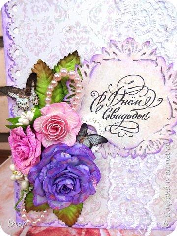 доброго дня всем! Эту открытку я делала на заказ для своей знакомой на свадьбу ее дочери.  фото 1