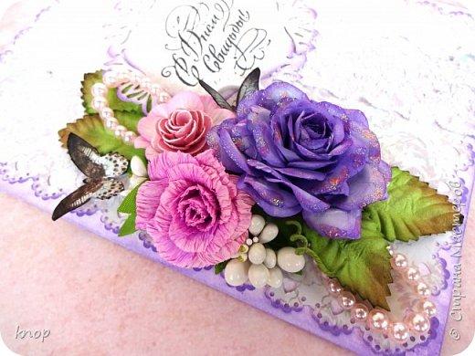 доброго дня всем! Эту открытку я делала на заказ для своей знакомой на свадьбу ее дочери.  фото 3