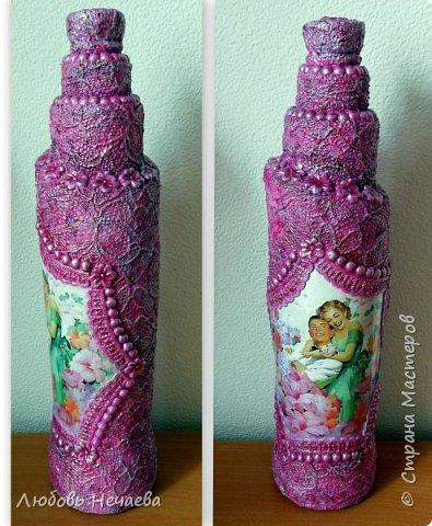 Меня часто просят сделать бутылочки с картинками о любви--актуальная тема. Пейп-арт и холодный фарфор. фото 4