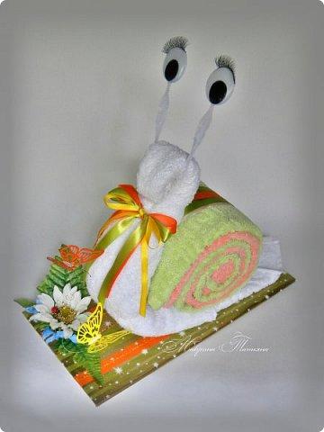 Здравствуйте! Сегодня хочу показать вам еще одну Улитку из полотенец. В составе: полотенце махровое (50*90) - 3 шт. фото 2