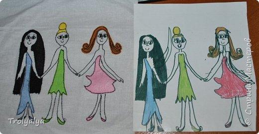 Справа - рисунок, сделанный моей 7-летней племяшкой, а слева - моё воплощение этого рисунка. Планирую сумочку дерюжную соорудить)