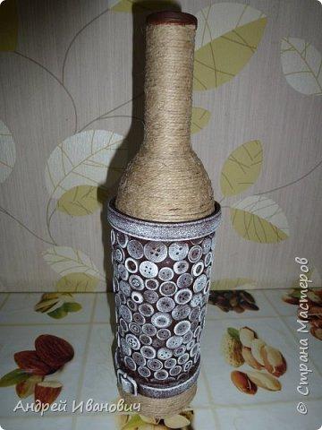 бутылка шпагат пуговицы  пва ремешок  акриловые краски фото 1