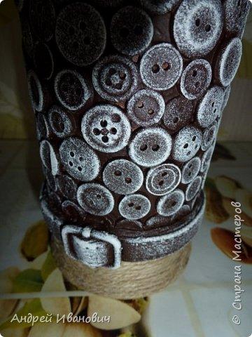 бутылка шпагат пуговицы  пва ремешок  акриловые краски фото 2
