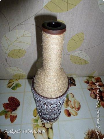 бутылка шпагат пуговицы  пва ремешок  акриловые краски фото 4