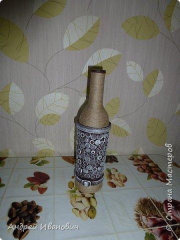 бутылка шпагат пуговицы  пва ремешок  акриловые краски фото 5