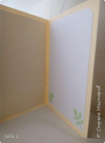 Здравствуйте! И снова у меня сегодня поздравительная открытка. Основа-картон молочного, небесно-голубого и нежного зеленого цветов. Оформлена полевыми цветами в технике квиллинг. Украшена стразиками. Внутри есть место для поздравления. Размер открытки 15х10.5 см. фото 4