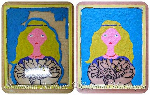 """""""Цветы для Мамочки"""" (обратная аппликация пластилином). Работа для конкурса к Дню Матери, выполненная одним из наших воспитанников. фото 6"""