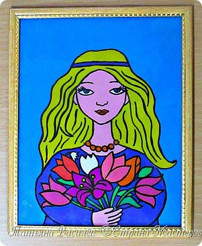 """""""Цветы для Мамочки"""" (обратная аппликация пластилином). Работа для конкурса к Дню Матери, выполненная одним из наших воспитанников. фото 1"""
