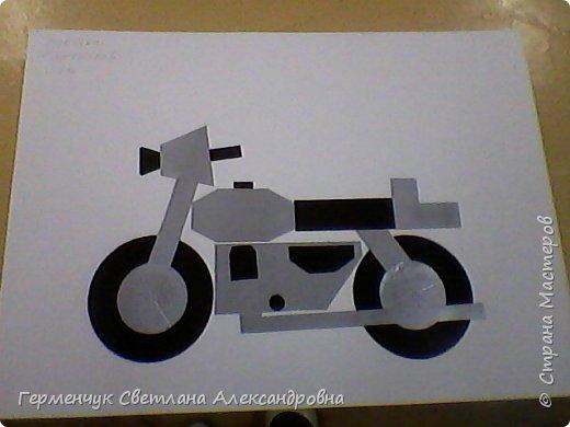 """Аппликация""""Мотоцикл""""-из геометрических фигур.Выполнил ученик к  уроку математики фото 1"""