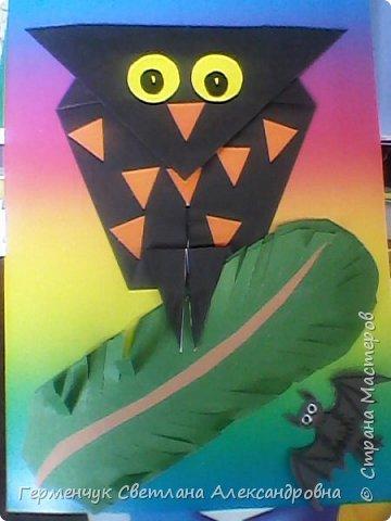 Совушка и летучая  мышь.Оригами фото 1