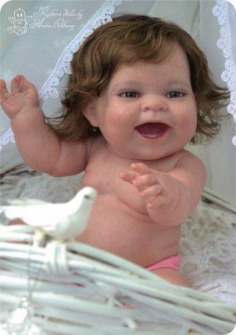 """Здравствуйте девочки-мастерицы! В моей мастерской """"родилась"""" малышка Лёлечка, выполнена на заказ. Сегодня уехала к """"мамочке"""" в Зеленоград. Рост куколки 35см, вес около 1 кг. Волосики-натуральный мохер, вживлены. Роспись красками генезис. фото 6"""