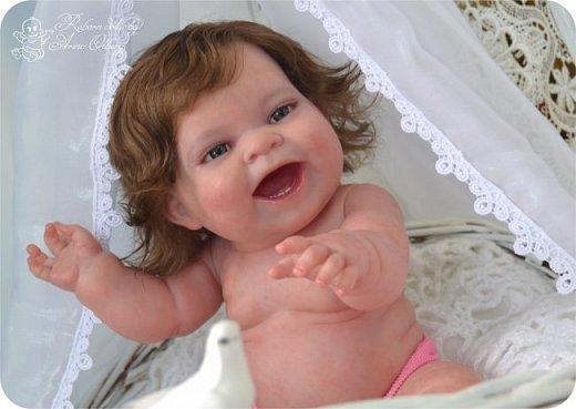 """Здравствуйте девочки-мастерицы! В моей мастерской """"родилась"""" малышка Лёлечка, выполнена на заказ. Сегодня уехала к """"мамочке"""" в Зеленоград. Рост куколки 35см, вес около 1 кг. Волосики-натуральный мохер, вживлены. Роспись красками генезис. фото 8"""