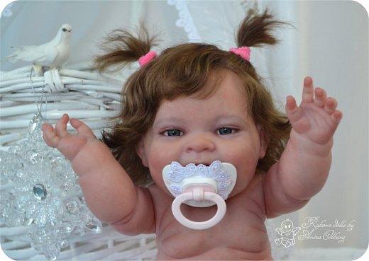 """Здравствуйте девочки-мастерицы! В моей мастерской """"родилась"""" малышка Лёлечка, выполнена на заказ. Сегодня уехала к """"мамочке"""" в Зеленоград. Рост куколки 35см, вес около 1 кг. Волосики-натуральный мохер, вживлены. Роспись красками генезис. фото 11"""