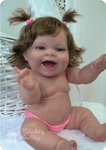 """Здравствуйте девочки-мастерицы! В моей мастерской """"родилась"""" малышка Лёлечка, выполнена на заказ. Сегодня уехала к """"мамочке"""" в Зеленоград. Рост куколки 35см, вес около 1 кг. Волосики-натуральный мохер, вживлены. Роспись красками генезис. фото 13"""
