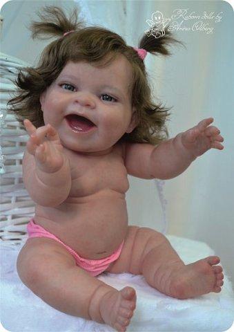 """Здравствуйте девочки-мастерицы! В моей мастерской """"родилась"""" малышка Лёлечка, выполнена на заказ. Сегодня уехала к """"мамочке"""" в Зеленоград. Рост куколки 35см, вес около 1 кг. Волосики-натуральный мохер, вживлены. Роспись красками генезис. фото 14"""