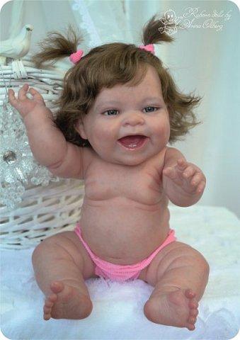 """Здравствуйте девочки-мастерицы! В моей мастерской """"родилась"""" малышка Лёлечка, выполнена на заказ. Сегодня уехала к """"мамочке"""" в Зеленоград. Рост куколки 35см, вес около 1 кг. Волосики-натуральный мохер, вживлены. Роспись красками генезис. фото 16"""