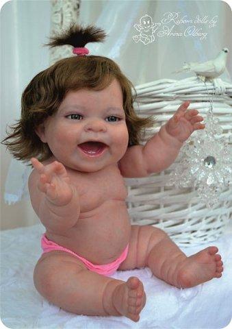 """Здравствуйте девочки-мастерицы! В моей мастерской """"родилась"""" малышка Лёлечка, выполнена на заказ. Сегодня уехала к """"мамочке"""" в Зеленоград. Рост куколки 35см, вес около 1 кг. Волосики-натуральный мохер, вживлены. Роспись красками генезис. фото 19"""