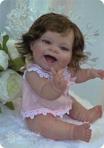 """Здравствуйте девочки-мастерицы! В моей мастерской """"родилась"""" малышка Лёлечка, выполнена на заказ. Сегодня уехала к """"мамочке"""" в Зеленоград. Рост куколки 35см, вес около 1 кг. Волосики-натуральный мохер, вживлены. Роспись красками генезис. фото 21"""
