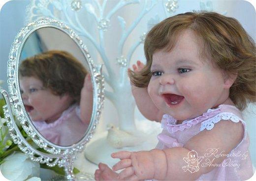 """Здравствуйте девочки-мастерицы! В моей мастерской """"родилась"""" малышка Лёлечка, выполнена на заказ. Сегодня уехала к """"мамочке"""" в Зеленоград. Рост куколки 35см, вес около 1 кг. Волосики-натуральный мохер, вживлены. Роспись красками генезис. фото 24"""