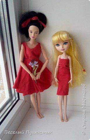 """Всем привет! Недавно у меня появилась новенькая, о которой частично и будет блог.  Для нее и Алисы я сшила платья, правда пока не придумала ,как сделать туфли, поэтому """"леди"""" ходят босиком. Стиль """"фотосессия на подоконнике"""" мой """"излюбленный"""", т.к  других мест очень мало. Рукодельное в блоге - платья, кружка с чаем, гамбургер, цветок. Поехали! фото 15"""