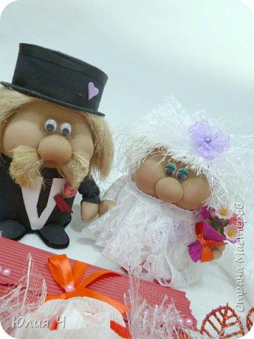 Здравствуйте,  дорогие друзья! Заглядываю в страну редко, но всегда с большим удовольствием! Поженила я таки гномиков. Кто еще не видел Дашин МК по гномикам, то Вам сюда http://stranamasterov.ru/node/701116?c=favorite   Нужно было на свадьбу не самое серьезное 3D оформление денежного подарка.... фото 7