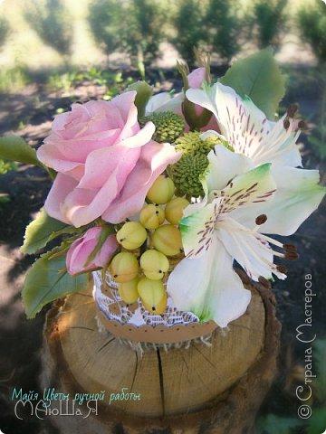 """Здравствуйте жители страны! На этот раз слепила розовые розы, наконец,решилась слепить альстромерию,спасибо Инне Голубевой за вдохновение и подсказки!!!! добавила ягоды и зелень.Букетику пока названия не дала, дайте идею, моя пока--"""" Нежный взгляд"""" фото 2"""