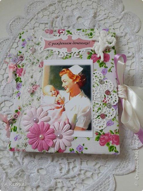 Вот такая папка-открыточка была сделана на заказ на рождение девочки. фото 4