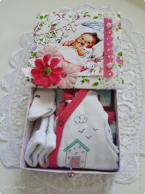 Вот такая папка-открыточка была сделана на заказ на рождение девочки. фото 6