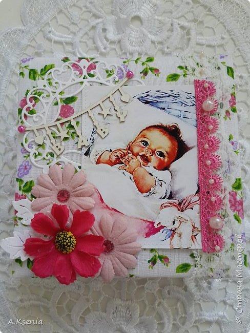 Вот такая папка-открыточка была сделана на заказ на рождение девочки. фото 5