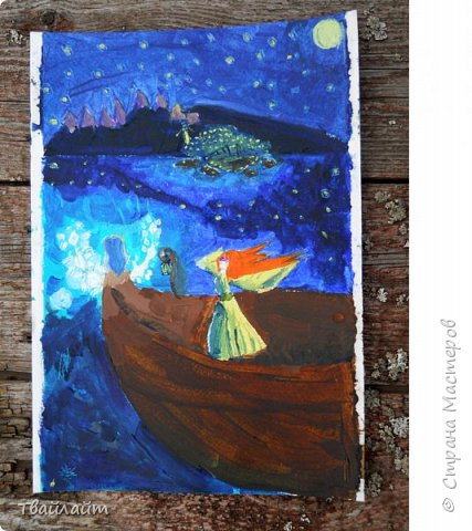 """Привет, Страна Мастеров! Вот я наконец выкладываю свою работу на конкурс """"Двери в другие миры"""". Вот ссылка: http://stranamasterov.ru/node/1038199?tid=675 В общем это не мой мир, но я обитаю в нем. Это Валинор на заднем плане, а персонажа я придумала сама, самое светлое пятно - Варда, а точнее её  звезды. Картина основывается на книге Джона Рональда Руэла Толкиена """"Сильмариллион"""". фото 1"""
