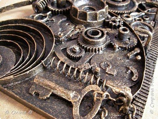 Утра  доброго всем, всем!!! Ключницу «Часы» в стиле стимпанк представляю сегодня на ваш суд. И немного номерков).  фото 5